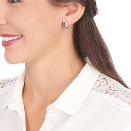 Boucles D'oreilles Argent 3 Rangs Oxyde - Boucles d'oreilles fantaisie Femme | Histoire d'Or