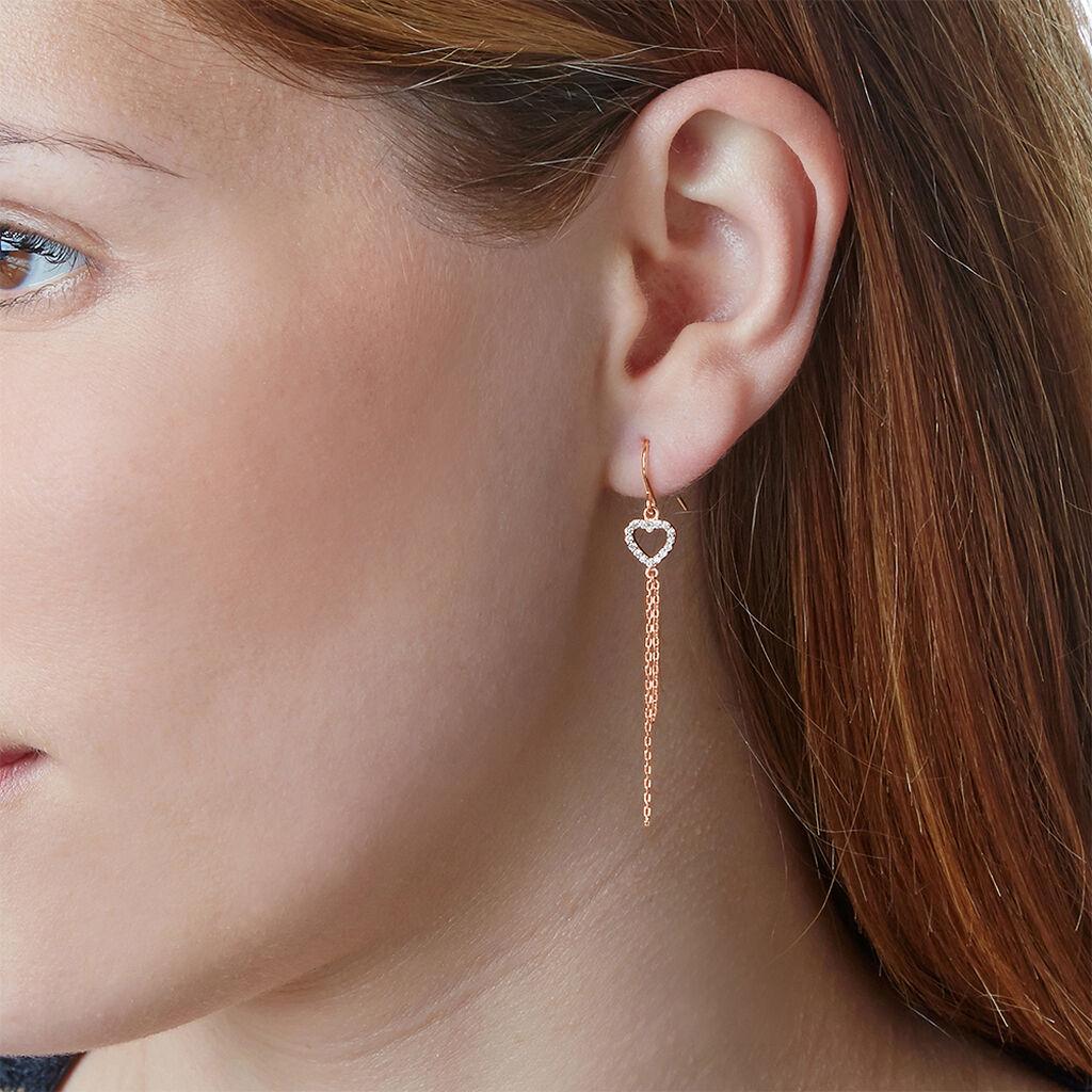 Boucles D'oreilles Pendantes Chislaine Argent Rose Oxyde De Zirconium - Boucles d'Oreilles Coeur Femme   Histoire d'Or