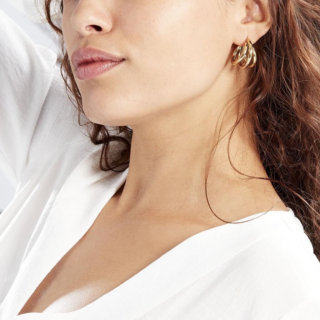 Créoles Adeau Acier Jaune - Boucles d'oreilles créoles Femme   Histoire d'Or