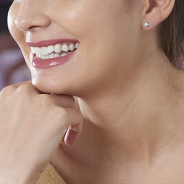 Boucles D'oreilles Puces Daria Coeur Plein Or Blanc Oxyde De Zirconium - Boucles d'Oreilles Coeur Femme   Histoire d'Or