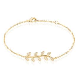 Bracelet Plaque Or Jaune Lenora - Bracelets Plume Femme   Histoire d'Or