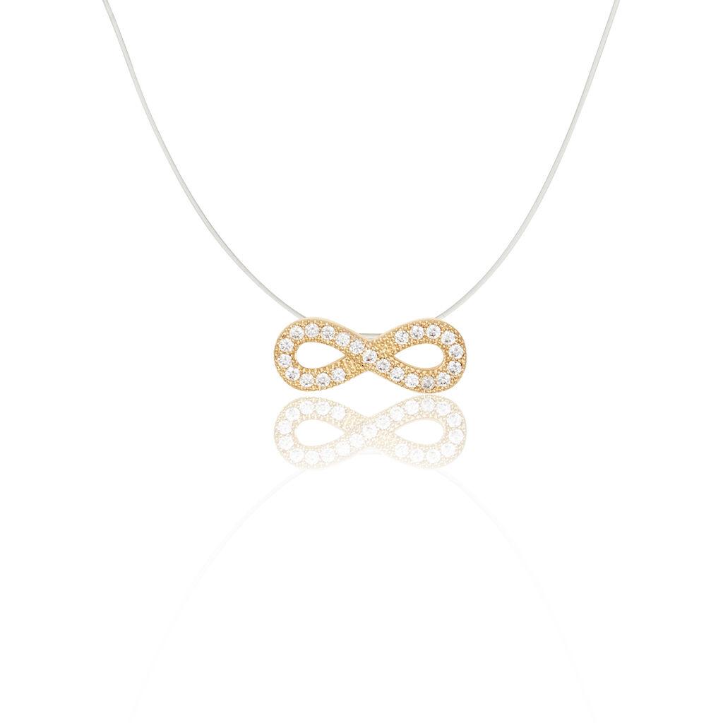 Collier Hadama Plaque Or Jaune Oxyde De Zirconium - Colliers Infini Femme | Histoire d'Or