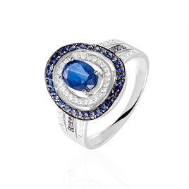 Bague Aselle Or Blanc Saphir Diamant - Bagues avec pierre Femme   Histoire d'Or