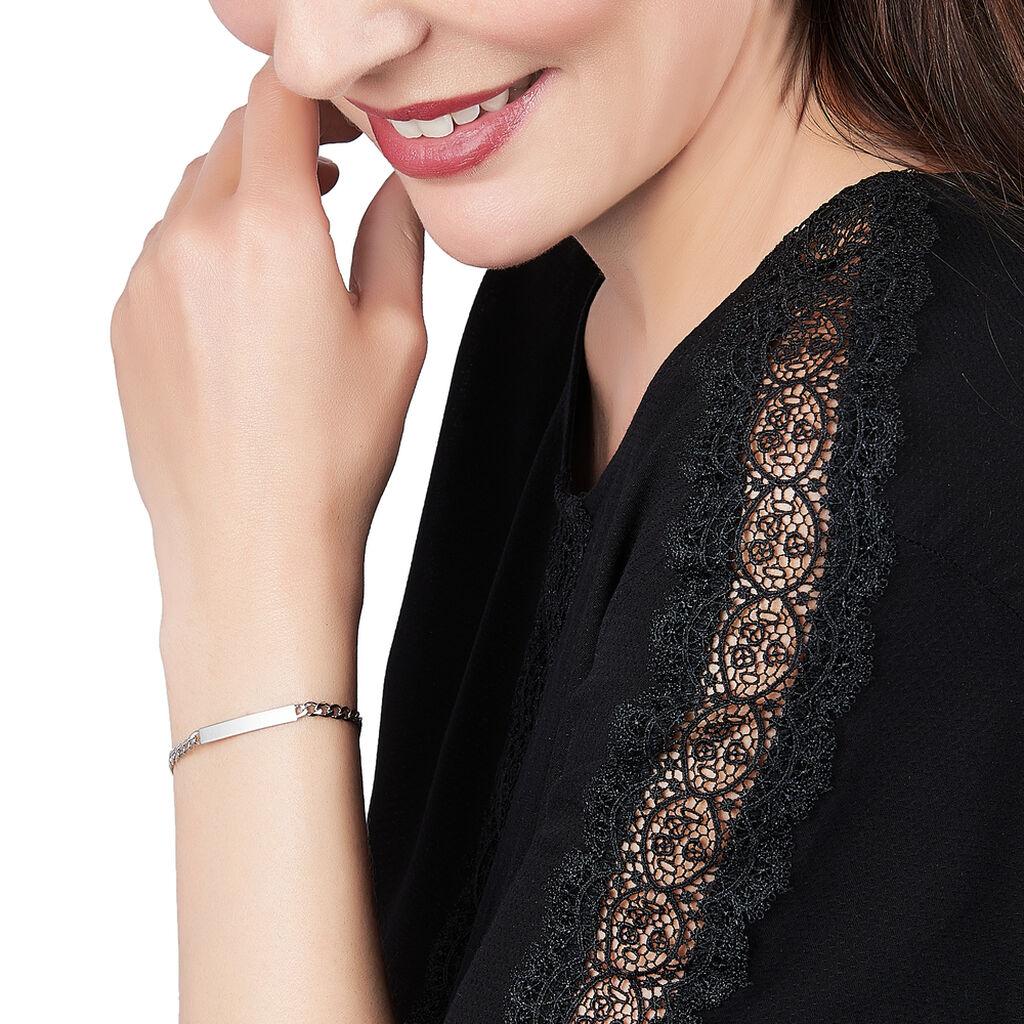 Bracelet Identité Clementine Maille Gourmette Argent Blanc - Bracelets fantaisie Femme   Histoire d'Or
