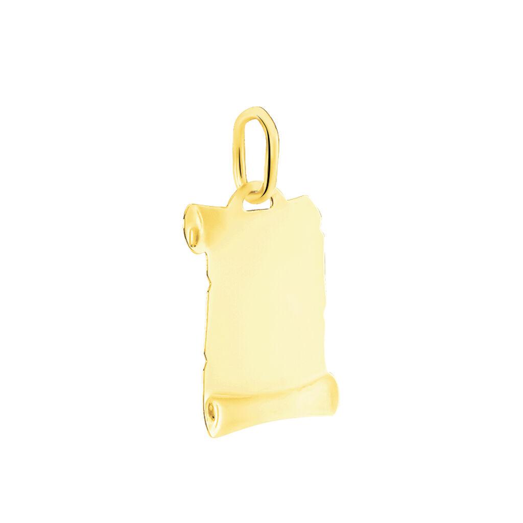 Pendentif Vierge A L'enfant Parchemin Or Jaune - Bijoux Vierge Unisexe   Histoire d'Or