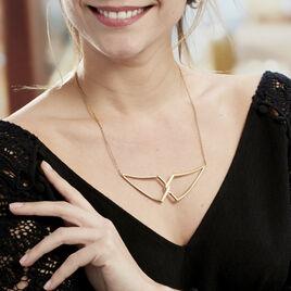 Sautoir Acier Dore Adelind Ouvert Geometrique Croisee - Colliers fantaisie Femme | Histoire d'Or