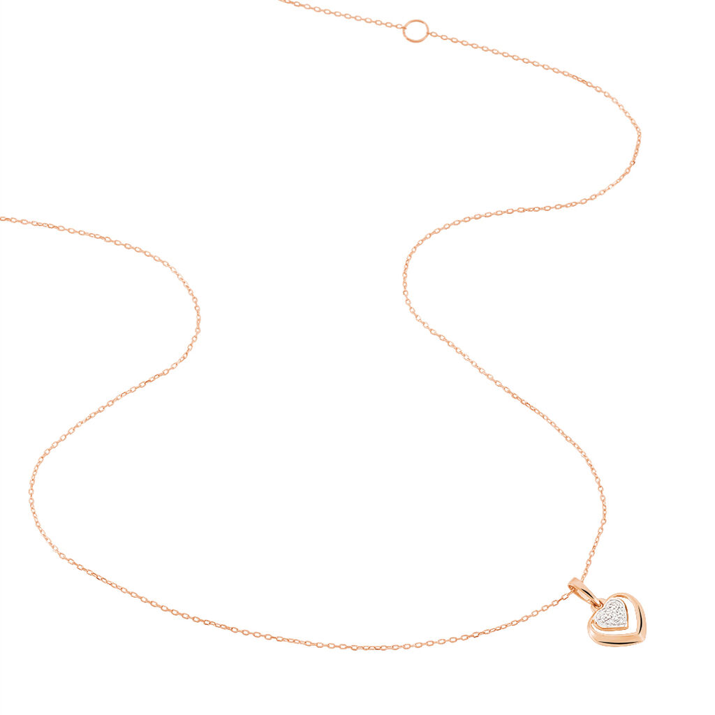 Collier Liana Or Rose Diamant - Colliers Coeur Femme   Histoire d'Or