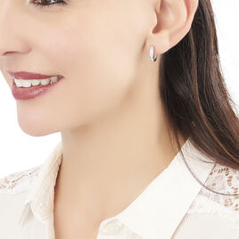 Créoles Anne-sixtine Argent Blanc Oxyde De Zirconium - Boucles d'Oreilles Coeur Femme | Histoire d'Or
