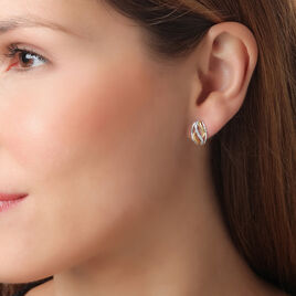 Boucles D'oreilles Pendantes Or Bicolore Diamant - Boucles d'oreilles créoles Femme   Histoire d'Or