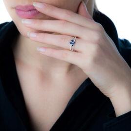 Bague Lupe Or Blanc Saphir Et Diamant - Bagues avec pierre Femme | Histoire d'Or