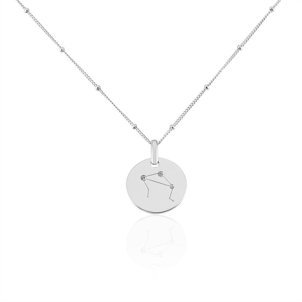 Collier Astr Argent Rhodie  Oxydes De Zirconium - Colliers Zodiaque Femme | Histoire d'Or