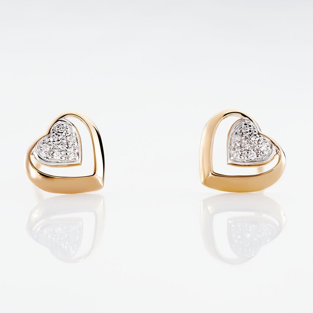 Boucles D'oreilles Puces Liana Or Rose Diamant - Boucles d'Oreilles Coeur Femme   Histoire d'Or