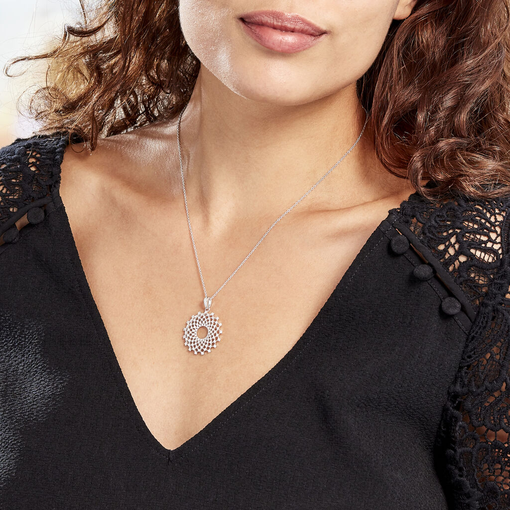 Collier Sunny Argent Blanc Oxyde De Zirconium - Bijoux Femme   Histoire d'Or