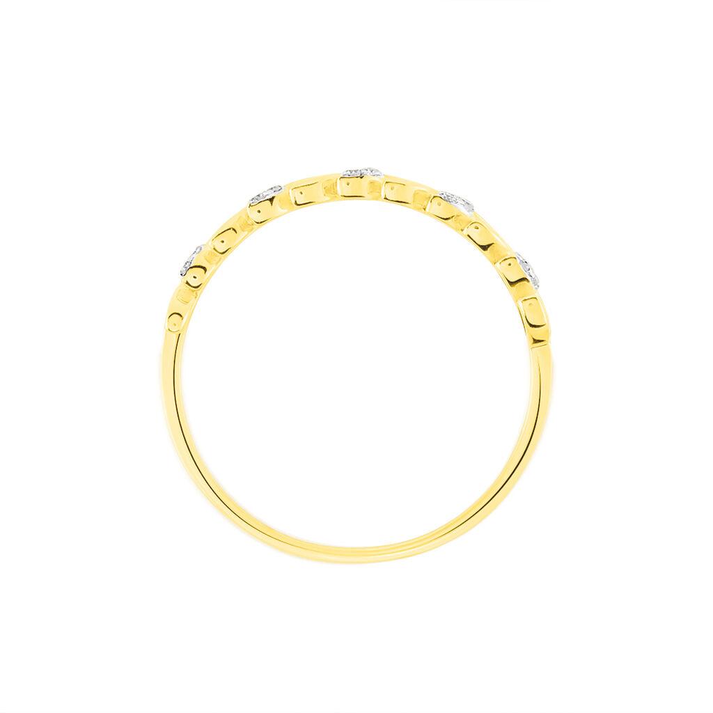 Bague Emeralda Or Jaune Diamant - Bagues Plume Femme   Histoire d'Or