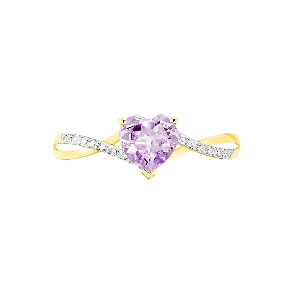Bague Clothilde Or Jaune Amethyste Et Diamant - Bagues Coeur Femme   Histoire d'Or