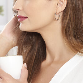 Créoles Alieno Helicoidale Argent Rose - Boucles d'oreilles créoles Femme | Histoire d'Or