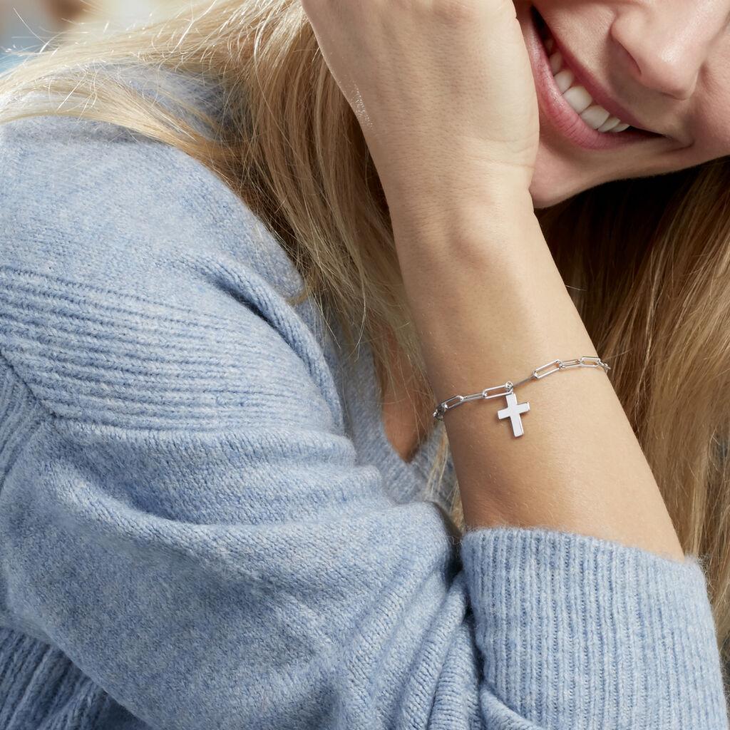 Bracelet Neala Argent Blanc - Bracelets Croix Femme   Histoire d'Or