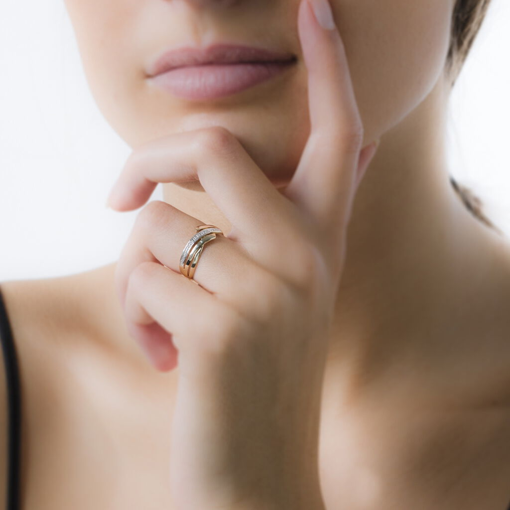 Bague Nermine Or Jaune Diamant - Bagues avec pierre Femme   Histoire d'Or