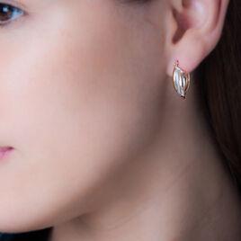 Créoles Hermande Piquetee Fils Plats Or Tricolore - Boucles d'oreilles créoles Femme | Histoire d'Or
