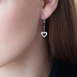 Boucles D'oreilles Pendantes Hazan Argent Blanc Pierre De Synthese - Boucles d'Oreilles Coeur Femme | Histoire d'Or