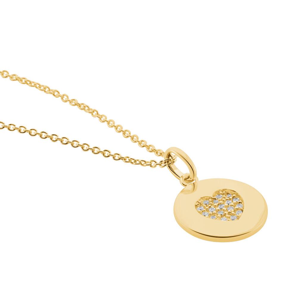 Collier Masanae Plaque Or Jaune Oxyde De Zirconium - Colliers Coeur Femme | Histoire d'Or