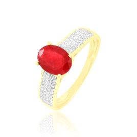 Bague Crista Or Jaune Rubis Et Diamant - Bagues solitaires Femme   Histoire d'Or
