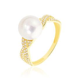 Bague Maria-theresa Or Jaune Perle De Culture Et Oxyde De Zirconium - Bagues avec pierre Femme   Histoire d'Or
