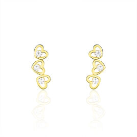 Boucles D'oreilles Puces Daria Coeur Triple Or Jaune Oxyde - Boucles d'Oreilles Coeur Femme   Histoire d'Or