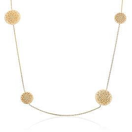Collier Sautoir Plaque Or Jaune Multi Formes Rondes Motifs Rosaces - Sautoirs Femme | Histoire d'Or