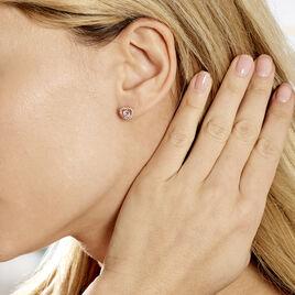 Boucles D'oreilles Puces Plaqué Or Jaune Alais Oxyde De Zirconium - Boucles d'Oreilles Coeur Femme | Histoire d'Or