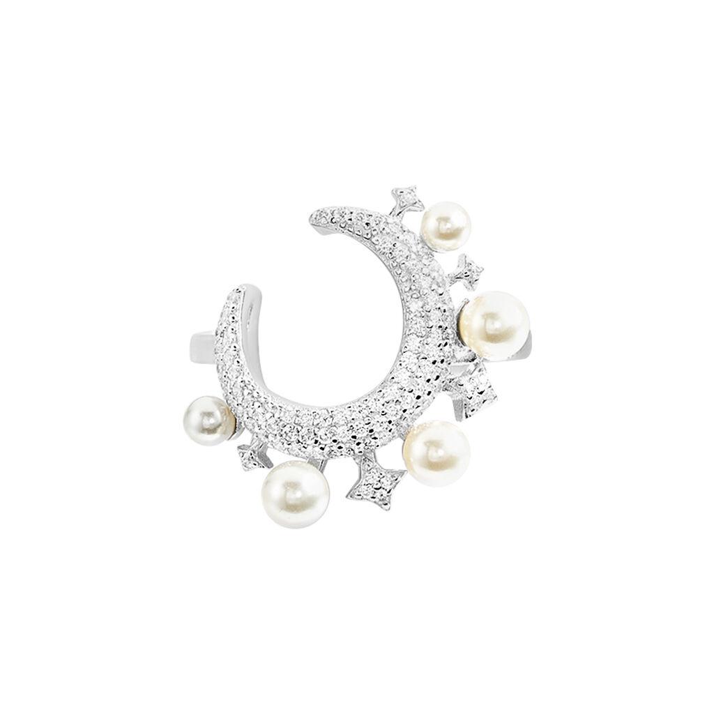 Bague Moon Argent Perle D'imitation Chrysoprase Et Oxyde De Zirconium - Bagues Lune Femme | Histoire d'Or