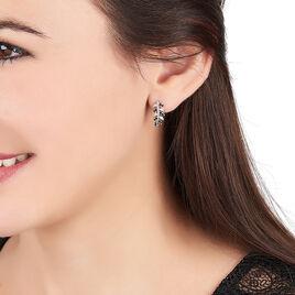 Boucles D'oreilles Pendantes Jade Argent Blanc Oxyde De Zirconium - Boucles d'Oreilles Plume Femme   Histoire d'Or