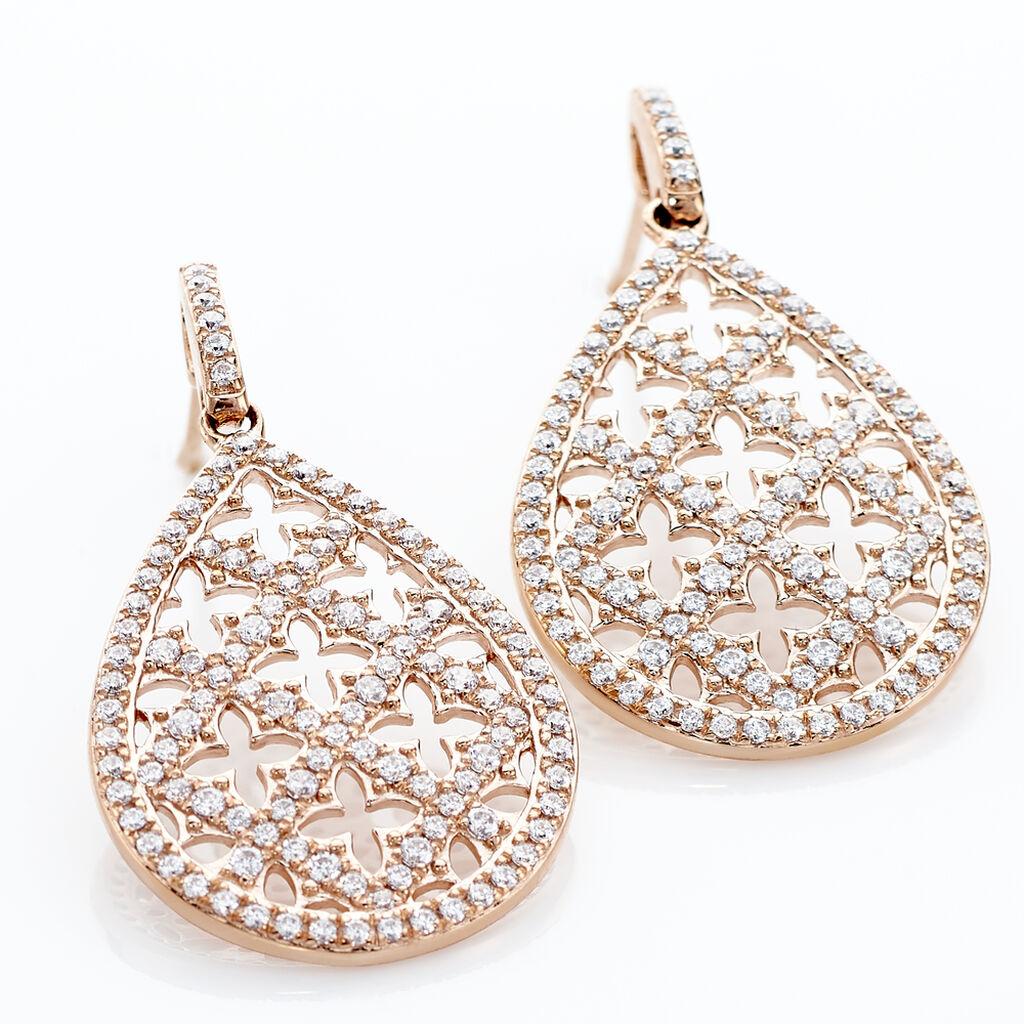 Boucles D'oreilles Pendantes Aliette Or Rose Oxyde De Zirconium - Boucles d'oreilles pendantes Femme | Histoire d'Or