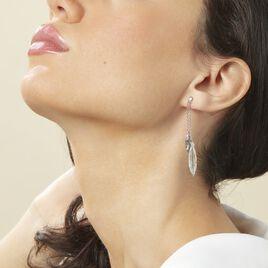 Boucles D'oreilles Pendantes Euriell Argent Blanc - Boucles d'Oreilles Plume Femme | Histoire d'Or