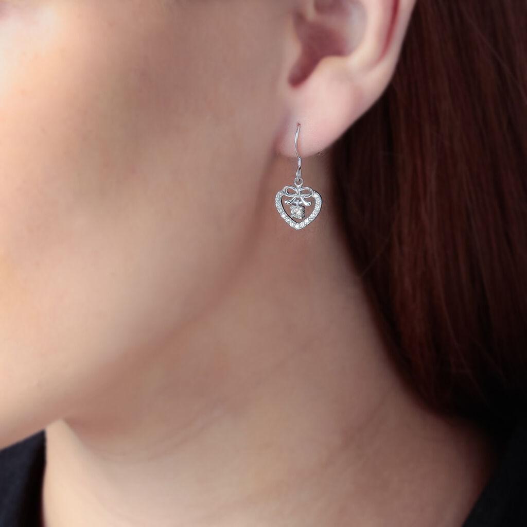 Boucles D'oreilles Pendantes Meliha Argent Blanc Oxyde De Zirconium - Boucles d'Oreilles Coeur Femme   Histoire d'Or