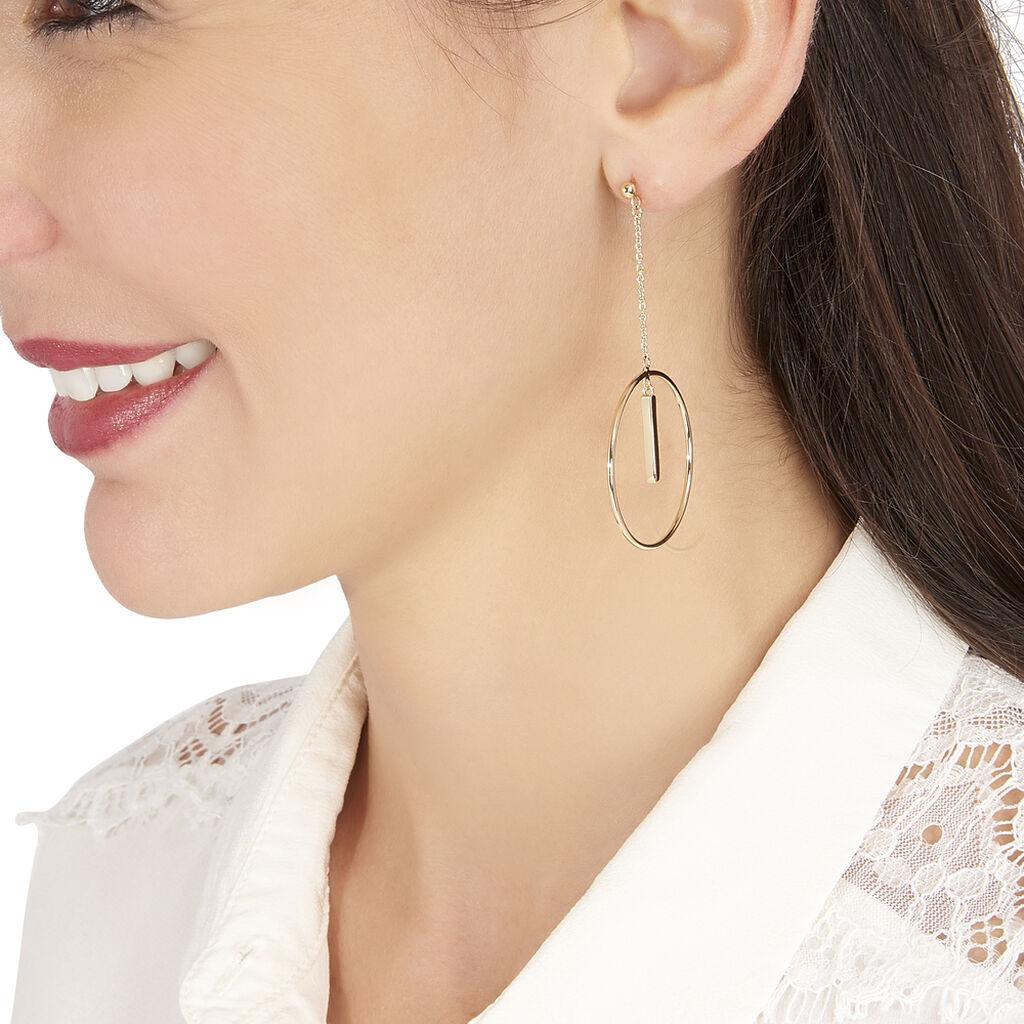 Boucles D'oreilles Pendantes Evana Plaque Or Jaune - Boucles d'oreilles pendantes Femme | Histoire d'Or