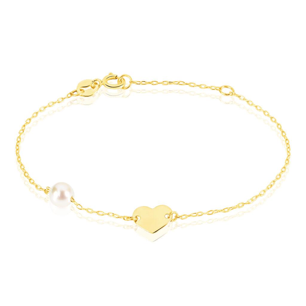 Bracelet Roselena Coeur Or Jaune Perle De Culture - Bracelets Coeur Enfant   Histoire d'Or