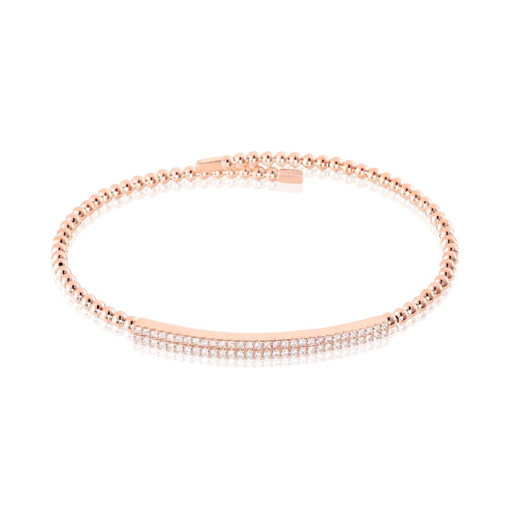 Bracelet Jonc Fuerza Argent Rose Oxyde De Zirconium - Bracelets fantaisie Femme | Histoire d'Or