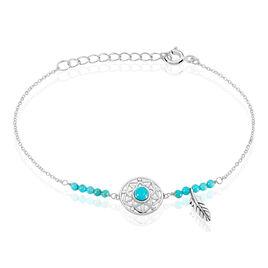 Bracelet Rojin Argent Blanc Pierre De Synthese - Bracelets Attrape rêves Femme | Histoire d'Or