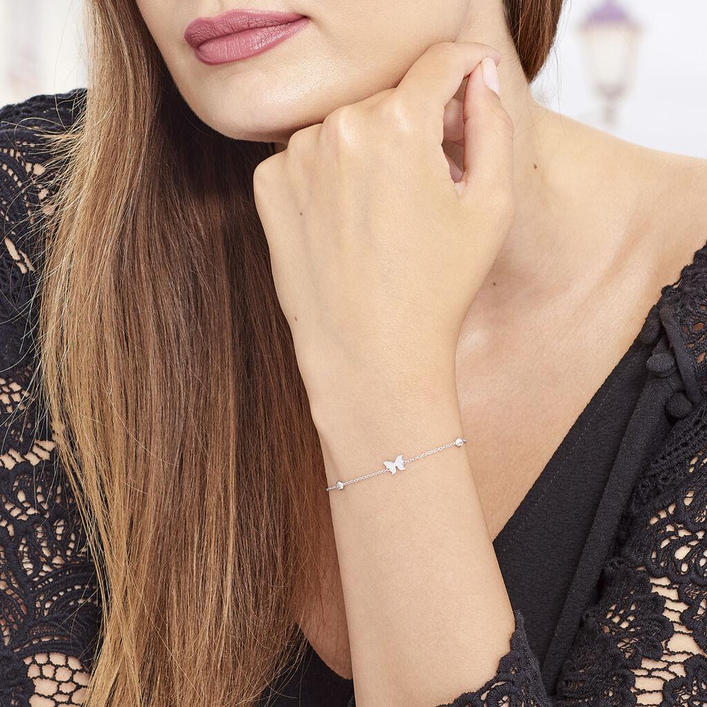 Bracelet Rana Argent Blanc Oxyde De Zirconium - Bracelets Papillon Femme | Histoire d'Or