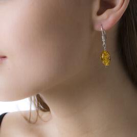 Boucles D'oreilles Argent Ambre Poire - Boucles d'oreilles fantaisie Femme | Histoire d'Or