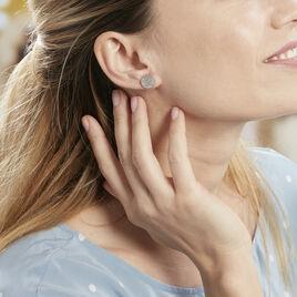 Boucles D'oreilles Puces Blanka Argent Blanc - Boucles d'oreilles fantaisie Femme | Histoire d'Or