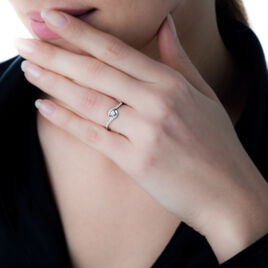 Bague Vrille Accompagnee Or Blanc Diamant - Bagues solitaires Femme   Histoire d'Or