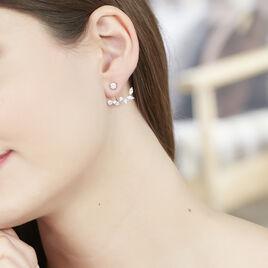 Bijoux D'oreilles Winterflower Or Blanc Oxyde De Zirconium - Boucles d'Oreilles Plume Femme   Histoire d'Or