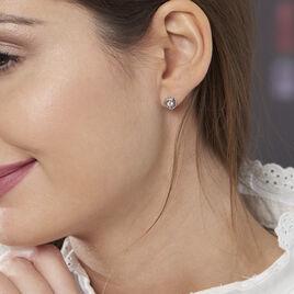 Boucles D'oreilles Puces Anne-andree Argent Blanc Oxyde De Zirconium - Boucles d'oreilles fantaisie Femme | Histoire d'Or