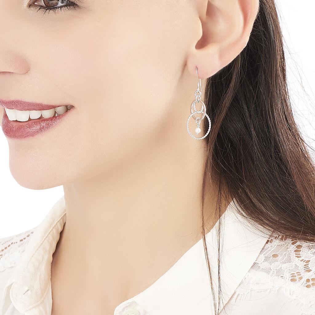 Boucles D'oreilles Pendantes Javana Argent Blanc Pierre De Synthese - Boucles d'oreilles fantaisie Femme   Histoire d'Or