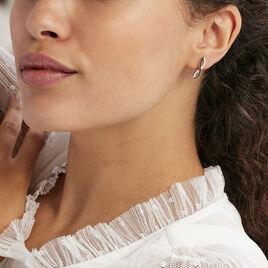 Boucles D'oreilles Puces Alizee Argent Blanc Oxyde De Zirconium - Boucles d'Oreilles Infini Femme | Histoire d'Or