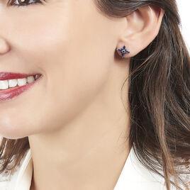 Boucles D'oreilles Puces Camilla Or Blanc Saphir - Clous d'oreilles Femme | Histoire d'Or