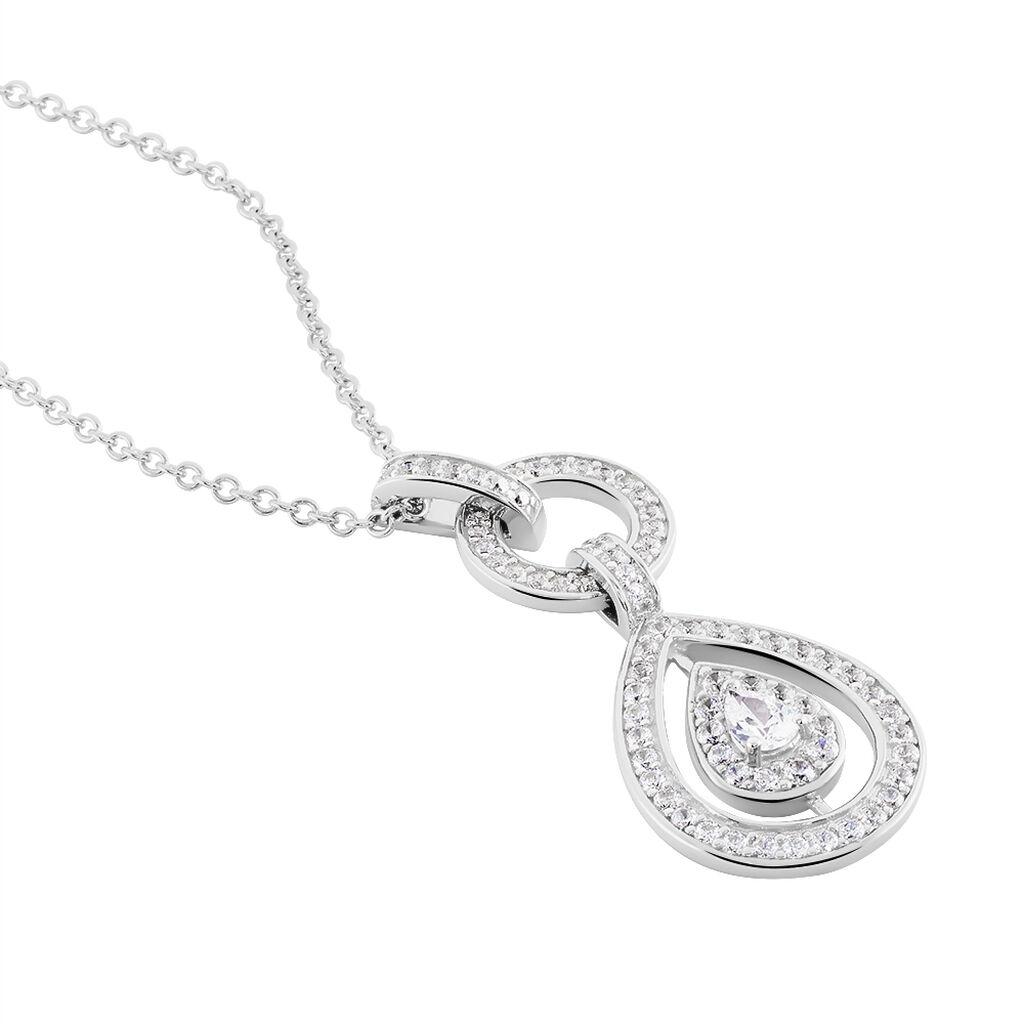 Collier Edward Argent Blanc Oxyde De Zirconium - Colliers fantaisie Femme | Histoire d'Or