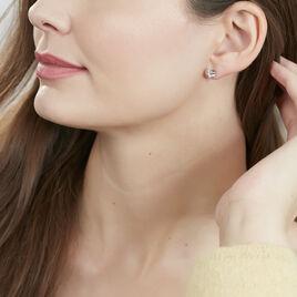 Boucles D'oreilles Puces Bridie Argent Blanc Pierre De Synthese - Boucles d'oreilles fantaisie Femme | Histoire d'Or